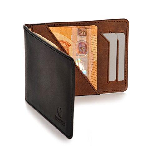 d1f1cd3a35a84 Donbolso Geldbörse Madrid mit Münzfach Leder Herren Mini Geldbeutel Flach  RFID Portemonnaie Geldklammer Slim Wallet Brieftasche Männer Schwarz Braun