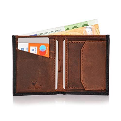 d3d1058da439a5 Donbolso Leder Geldbörse Rom – Slim Wallet mit Münzfach – Mini Portemonnaie  für Herren und Damen – Geldbeutel klein mit RFID Schutz